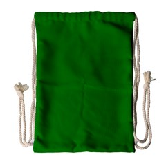 Solid Christmas Green Velvet Classic Colors Drawstring Bag (Large)
