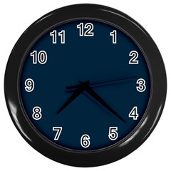 Solid Christmas Silent night Blue Wall Clocks (Black)