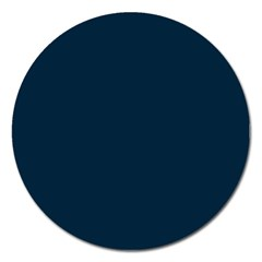 Solid Christmas Silent night Blue Magnet 5  (Round)