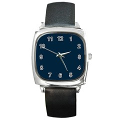 Solid Christmas Silent night Blue Square Metal Watch