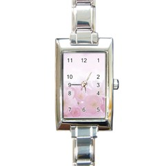Pink Blossom Bloom Spring Romantic Rectangle Italian Charm Watch