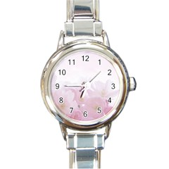 Pink Blossom Bloom Spring Romantic Round Italian Charm Watch