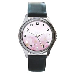 Pink Blossom Bloom Spring Romantic Round Metal Watch