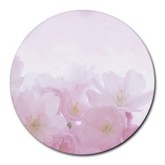 Pink Blossom Bloom Spring Romantic Round Mousepads