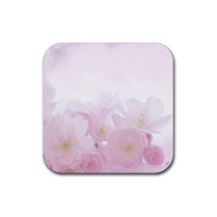 Pink Blossom Bloom Spring Romantic Rubber Square Coaster (4 pack)