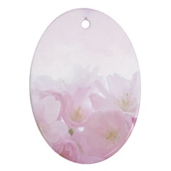 Pink Blossom Bloom Spring Romantic Oval Ornament (two Sides)