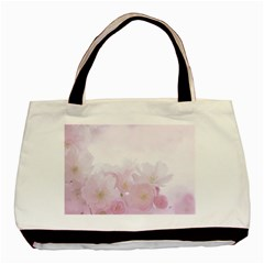 Pink Blossom Bloom Spring Romantic Basic Tote Bag (two Sides)