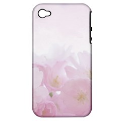 Pink Blossom Bloom Spring Romantic Apple Iphone 4/4s Hardshell Case (pc+silicone)