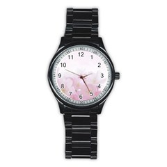 Pink Blossom Bloom Spring Romantic Stainless Steel Round Watch
