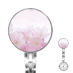 Pink Blossom Bloom Spring Romantic Stainless Steel Nurses Watch