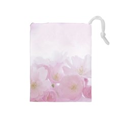 Pink Blossom Bloom Spring Romantic Drawstring Pouches (Medium)