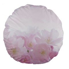 Pink Blossom Bloom Spring Romantic Large 18  Premium Flano Round Cushions