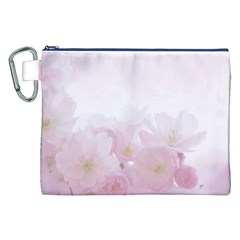 Pink Blossom Bloom Spring Romantic Canvas Cosmetic Bag (XXL)