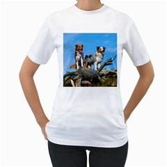 mini Australian Shepherd group Women s T-Shirt (White) (Two Sided)