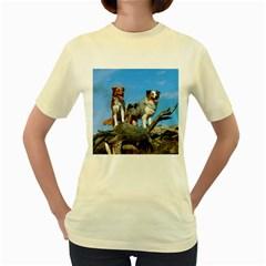 mini Australian Shepherd group Women s Yellow T-Shirt