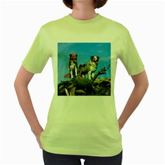 mini Australian Shepherd group Women s Green T-Shirt