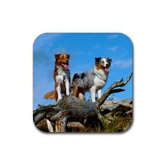 mini Australian Shepherd group Rubber Coaster (Square)