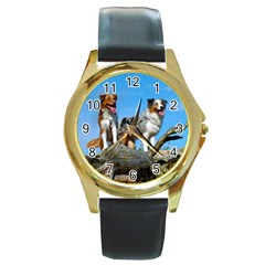 mini Australian Shepherd group Round Gold Metal Watch