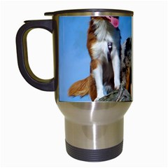 mini Australian Shepherd group Travel Mugs (White)