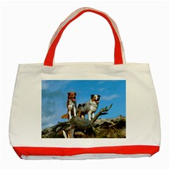 mini Australian Shepherd group Classic Tote Bag (Red)