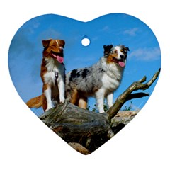 mini Australian Shepherd group Heart Ornament (Two Sides)