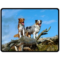 mini Australian Shepherd group Fleece Blanket (Large)