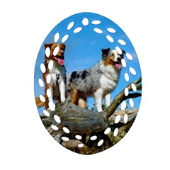 mini Australian Shepherd group Oval Filigree Ornament (Two Sides)
