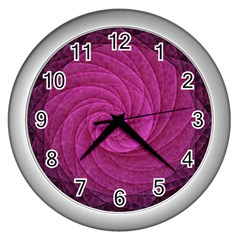 Purple Background Scrapbooking Abstract Wall Clocks (Silver)