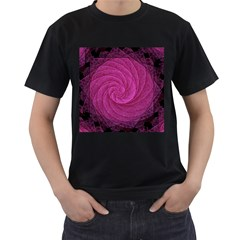 Purple Background Scrapbooking Abstract Men s T-Shirt (Black) (Two Sided)