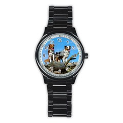 mini Australian Shepherd group Stainless Steel Round Watch