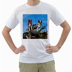 mini Australian Shepherd group Men s T-Shirt (White)