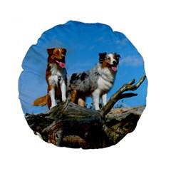 mini Australian Shepherd group Standard 15  Premium Flano Round Cushions