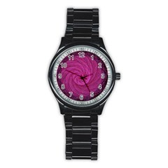 Purple Background Scrapbooking Abstract Stainless Steel Round Watch