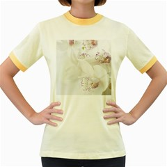 Orchids Flowers White Background Women s Fitted Ringer T Shirts