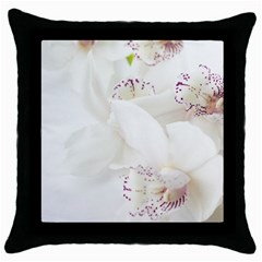 Orchids Flowers White Background Throw Pillow Case (Black)