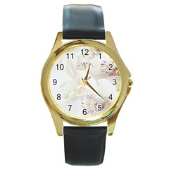 Orchids Flowers White Background Round Gold Metal Watch