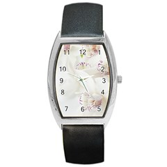 Orchids Flowers White Background Barrel Style Metal Watch