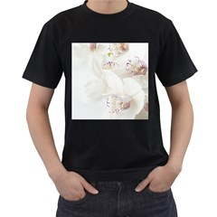 Orchids Flowers White Background Men s T-Shirt (Black) (Two Sided)