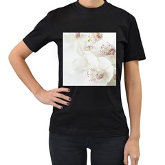 Orchids Flowers White Background Women s T-Shirt (Black) (Two Sided)