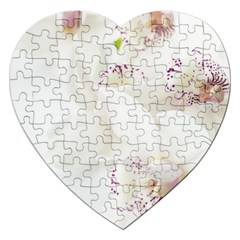 Orchids Flowers White Background Jigsaw Puzzle (heart)