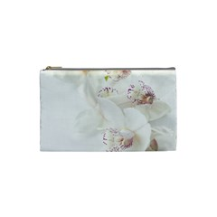 Orchids Flowers White Background Cosmetic Bag (small)