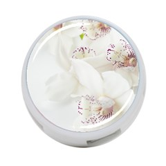 Orchids Flowers White Background 4-Port USB Hub (One Side)