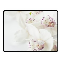 Orchids Flowers White Background Fleece Blanket (small)