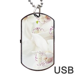 Orchids Flowers White Background Dog Tag Usb Flash (two Sides)