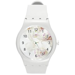 Orchids Flowers White Background Round Plastic Sport Watch (M)