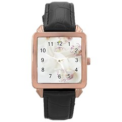 Orchids Flowers White Background Rose Gold Leather Watch