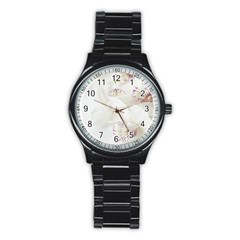 Orchids Flowers White Background Stainless Steel Round Watch