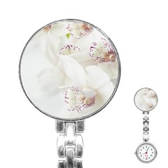 Orchids Flowers White Background Stainless Steel Nurses Watch