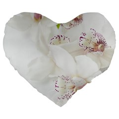 Orchids Flowers White Background Large 19  Premium Flano Heart Shape Cushions