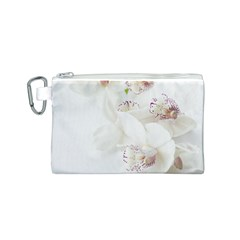 Orchids Flowers White Background Canvas Cosmetic Bag (S)